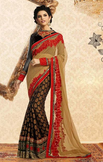USD 134.22 Beige and Black Silk Half N Half Party Wear Saree  39204