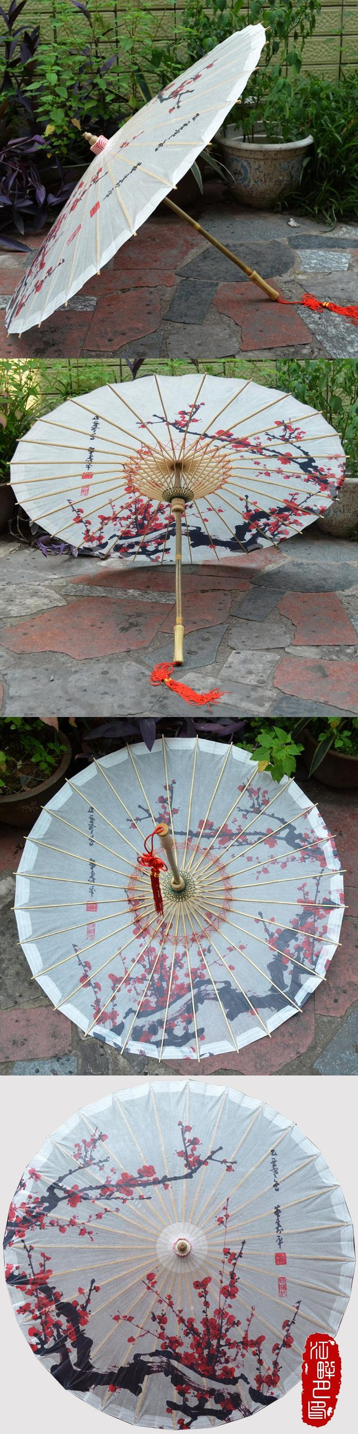 Red Plum Blossom Chinese Handmade Oil Paper Umbrella Sunshade Parasol Decoration Gift Dance Umbrella