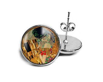 The kiss - Gustaw Klimt - Hypoallergenic Earrings for Sensitive Ears - trendy earrings studs