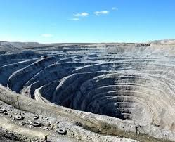 Russia. Udachny mine. Open pit mine discovered in 1955. Underground mining started in 2004.
