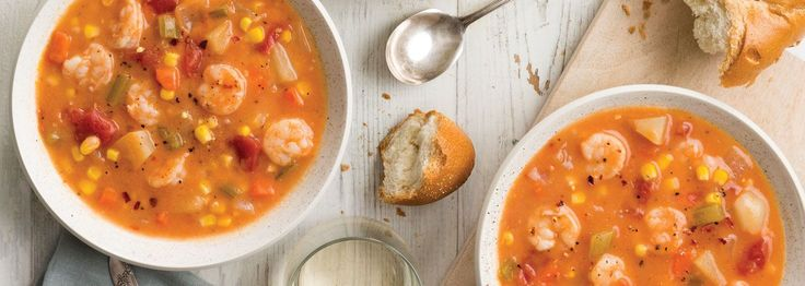 As the White Shrimp season hits its stride in early autumn, we're always looking for different dishes that highlight the crustacean's sweet flavor and delicate texture. This lightened-up soup takes some of the season's best flavors and melds them with a hearty dose of Louisiana shrimp. You'll want to eat this over and over again as