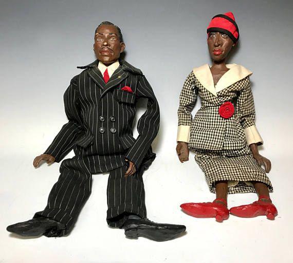 Vintage Billye and Judge Blackamoor Ebony Couple Memorabilia