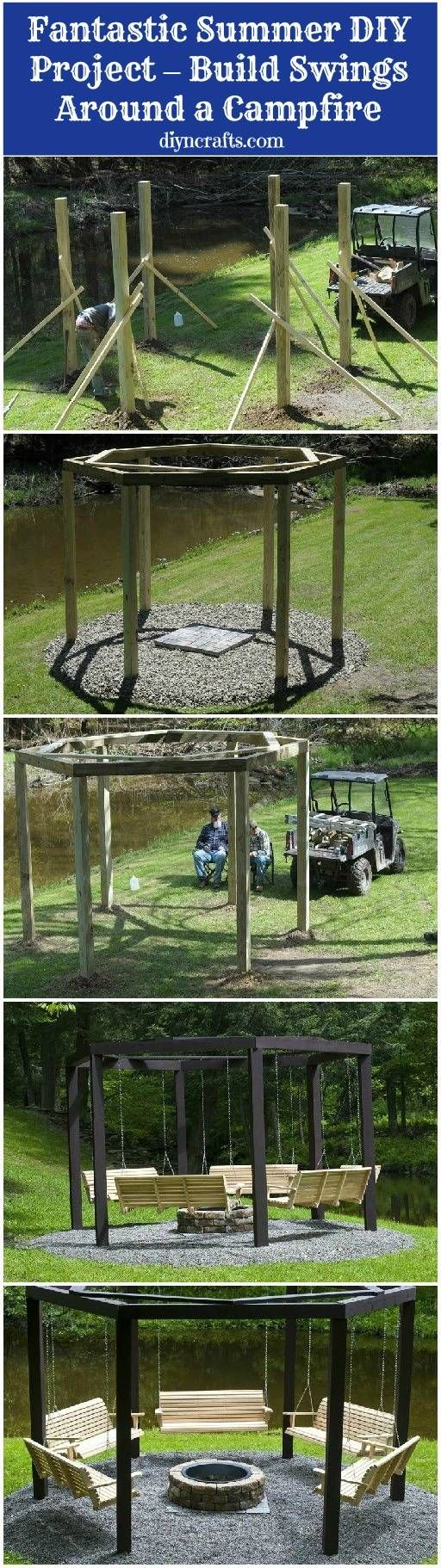 Pretty sure I need to move to a place with a backyard so I can build this 'cause holy frick it's amazing. (Fantastic Summer DIY Project – Build Swings Around a Campfire)