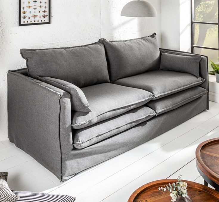Design Hussensofa Cloud 195cm Grau Inkl Kissen 2er Sofa Landhausstil Sofa Landhausstil 2er Sofa Sofa