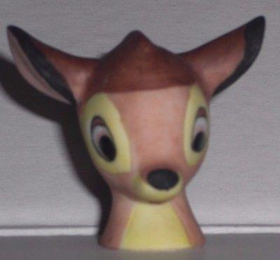 "Vintage Miniature Porcelain BAMBI Head Figurine 1980's  1 1/4"" H Walt Disney Co."