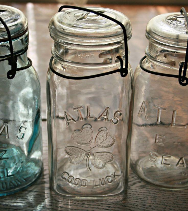 Altas Good Luck Jar vintage mason jar