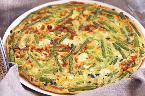 Add asparagus and goat's cheese to the mix for an elegant vegetarian frittata.
