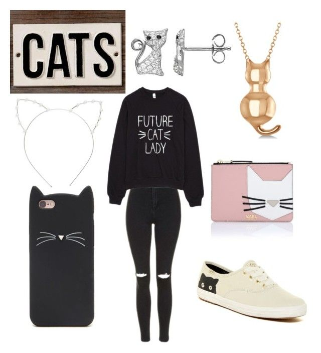 """""""Cats? Of course! =^.^="""" by ania-kondrat on Polyvore featuring Topshop, Cara, Forever 21, Karl Lagerfeld, Keds, Allurez and HomArt"""