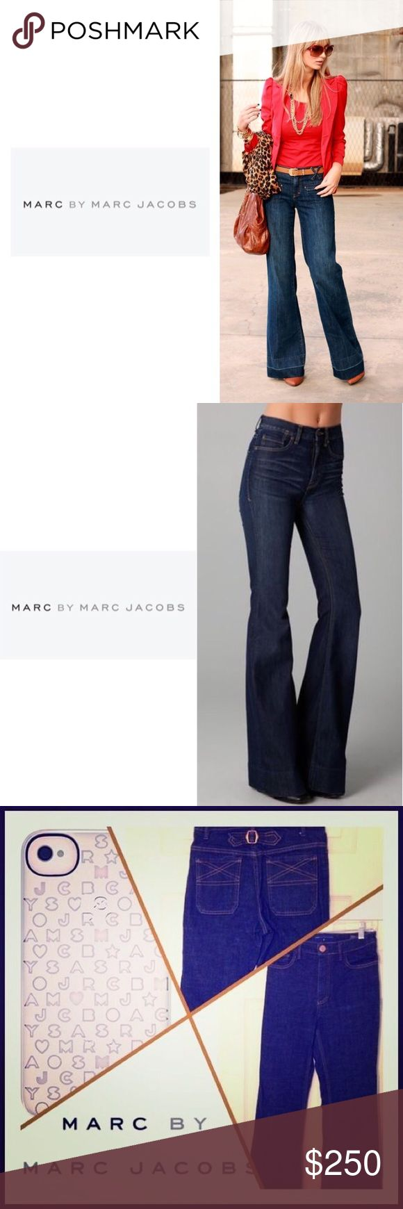 "MARC by Marc Jacobs • \Marc by Marc Jacobs// Wide-leg Dark wash denim jeans ::: buckle in back ::: high rise ::: Size 25 ::: worn a couple of times with no stains or pulls /// some fraying to the bottom of the pants ::: perfect with heels ::: Inseam 32"" Marc by Marc Jacobs Jeans Flare & Wide Leg"