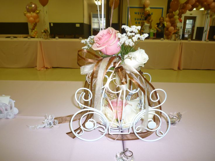 Cinderella Carriage With Fresh Flowers Centerpiece, Centerpiece With Roses  Flower For Baby Shower Partyhttp: