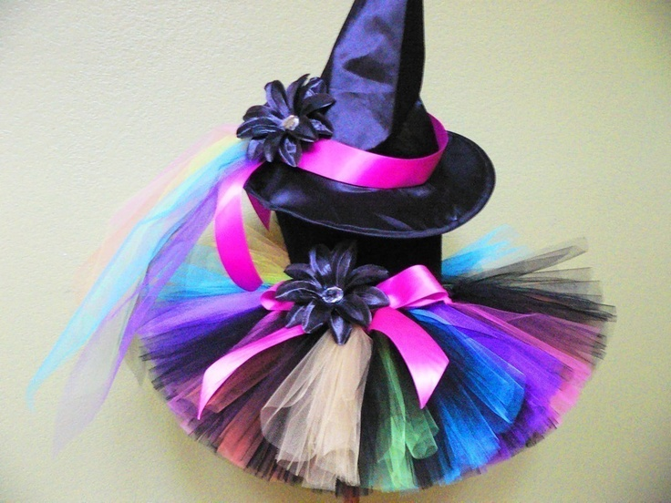 Witch Tutu Costume - Rainbow, the Punk Rock Witch - Custom Sewn - sizes Newborn up to 5T - Black with Bright Rainbow Colors Costume with Hat. $48.00, via Etsy.