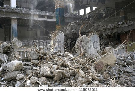 demolition of smoldering rubble in Munich's rural,Germany