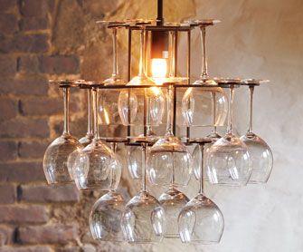 Repurpose Wineglass Chandelier