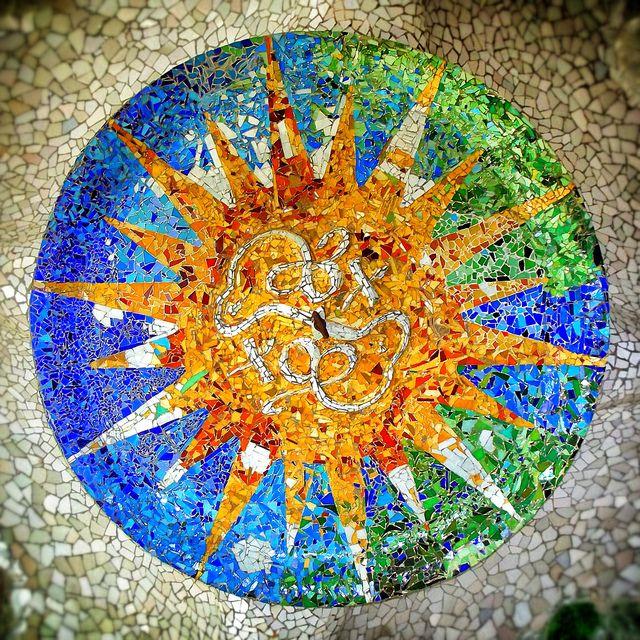 Mosaics in the ceiling. Park Guell. Antoni Gaudi. Barcelona. Spain by Adalbertop, via Flickr