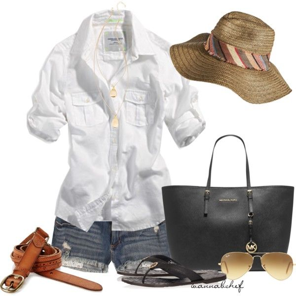 Floppy Hats for Summer by wannabchef on Polyvore featuring mode, American Eagle Outfitters, Bullhead Denim Co., Tory Burch, MICHAEL Michael Kors, Heather Hawkins, Lucky Brand and Ray-Ban