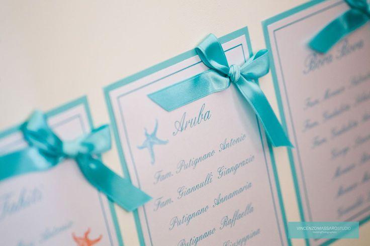 Tableau mariage...turquoise and marine inspiration by Michela & Michela www.italianweddingcompany.com