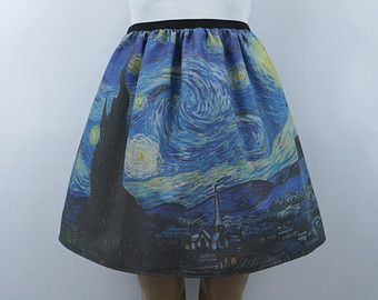 Elastiek aan de taille rok gemaakt van Tardis Van Gogh weefsel