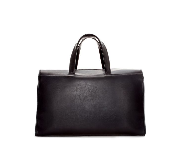 ZARA - MAN - LEATHER BOWLING BAG WITH FOLDOVER FLAP