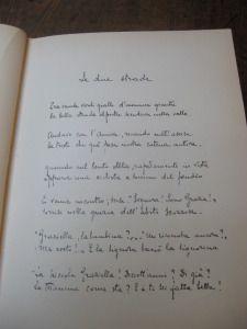 """Il manoscritto della poesia """"Le due strade"""""""