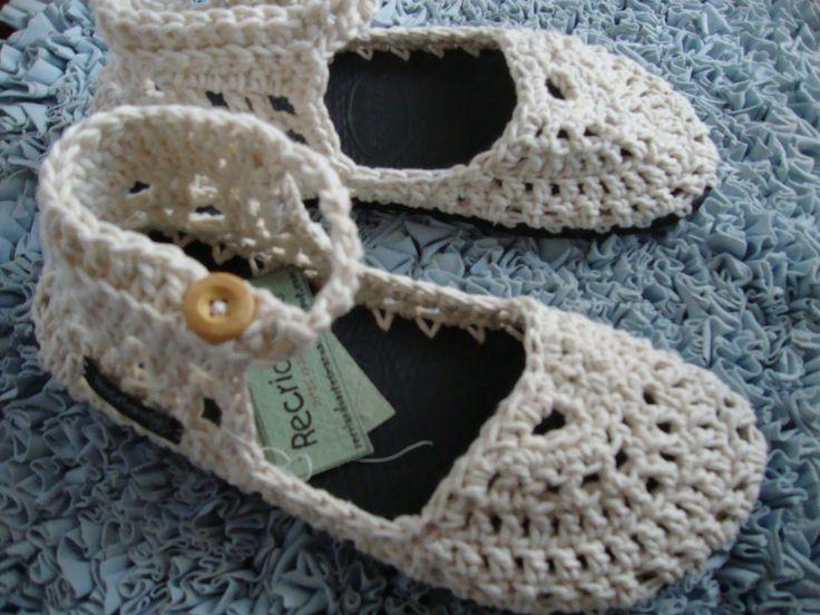 ... Recriando Artes Manuais ...: sapato e sandália de crochê