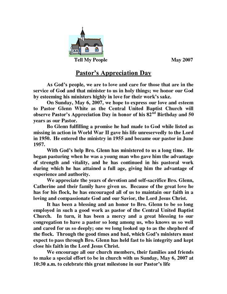 pastor appreciation letter template   Pastors Appreciation Day ...
