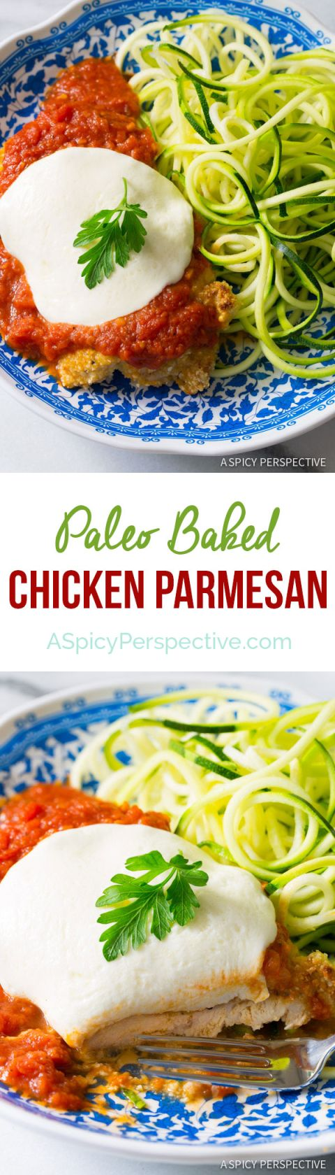 Amazing Paleo Baked Chicken Parmesan on ASpicyPerspective.com #paleo #primal