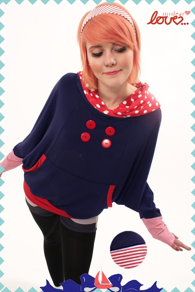 """Ponchohoodie """"Vally""""-Sweat Marine, Rot Punkte, hooded poncho polka dots and stripes from mydearlove"""