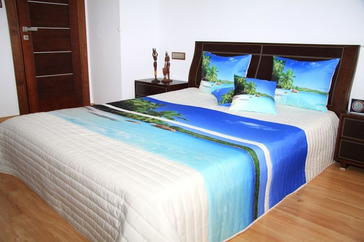 Narzuty kremowe na duże łóżka z wodą i palmami