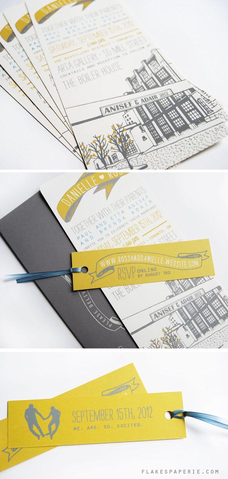 Screen printed wedding invites.