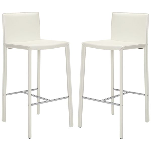 Safavieh Park Ave White Leather 30-inch Bar Stools (Set of 2) $175.08  sc 1 st  Pinterest : white leather stools for kitchen - islam-shia.org