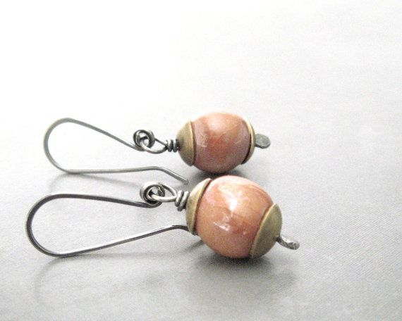 terra cotta dangle earrings, kazuri clay silver brass earrings, rustic dangle earrings, mixed metal, metalwork jewelry