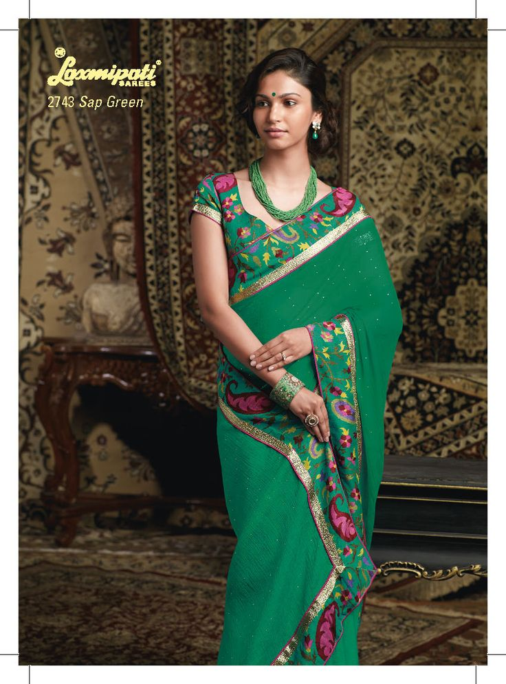This green color saree with fabulous border patta used chiffon material
