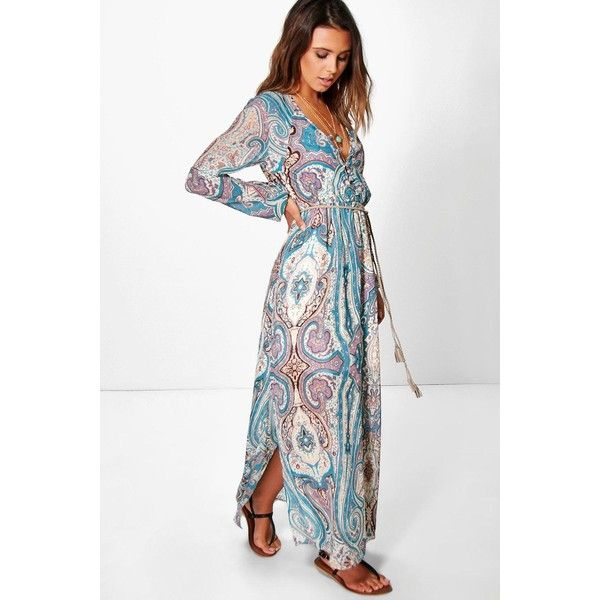 Boohoo Petite Petite Polly Paisley Cage Back Maxi Dress featuring polyvore, women's fashion, clothing, dresses, multi, petite maxi dress, maxi party dresses, petite party dresses, party dresses and white party dresses