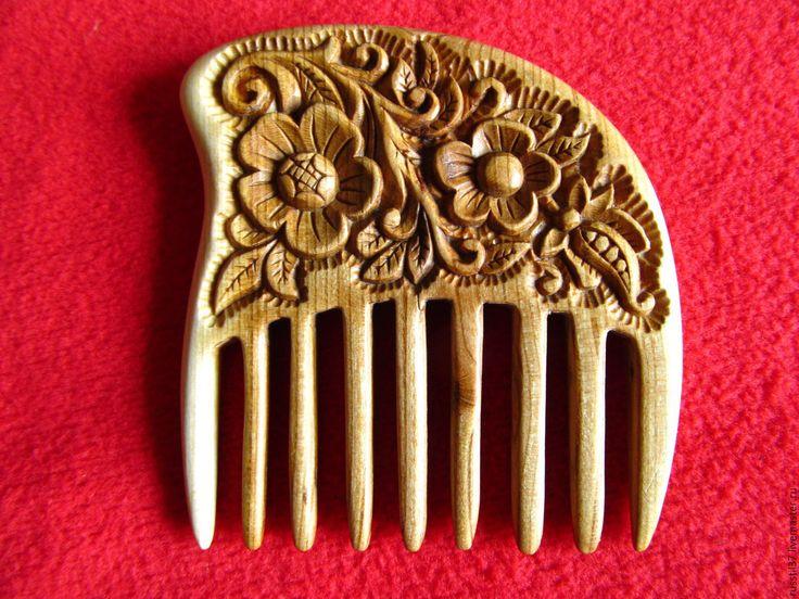 """Купить Гребень резной( дерево """"слива"""") - комбинированный, гребень, гребень для волос, расческа, укладка волос"""
