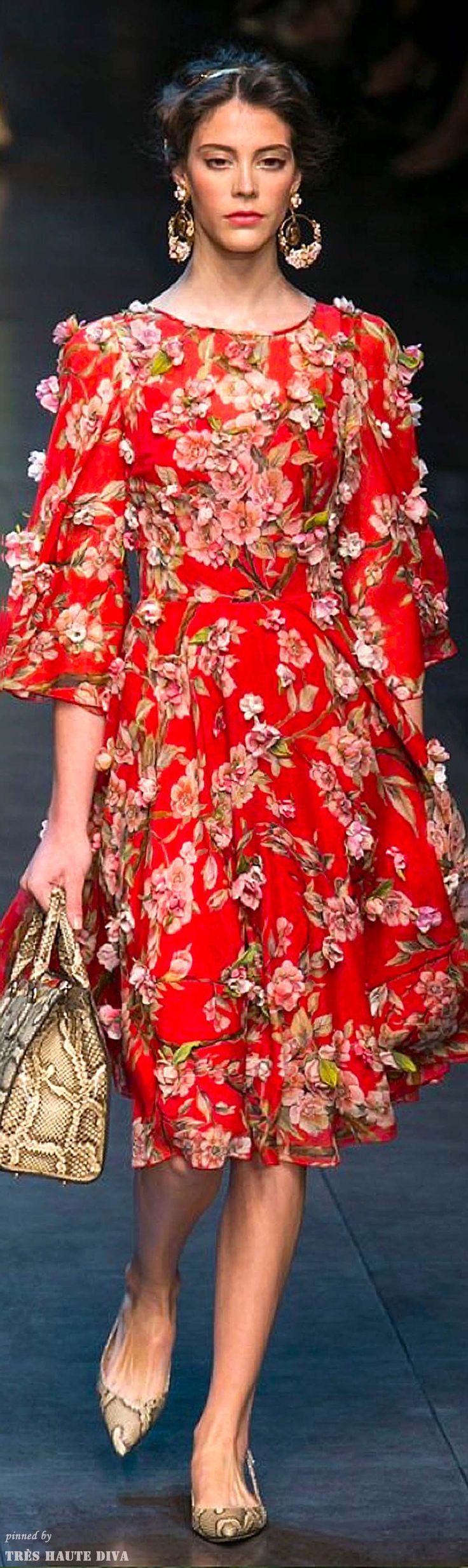 Dolce & Gabbana Spring 2014 RTW. Vestido, vermelho, floral, aplicações.