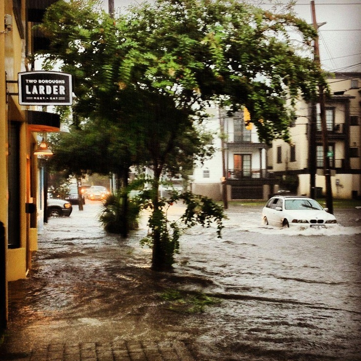 Charleston Flooding - August 2012 - this restaurant Two Boroughs Larder is owned by a former student - wishing him the best  with the flooding.