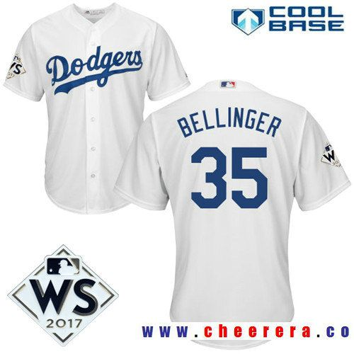 0dc7d5f0 ... Mens Los Angeles Dodgers 35 Cody Bellinger White Home 2017 World Series  Patch Majestic Cool ...