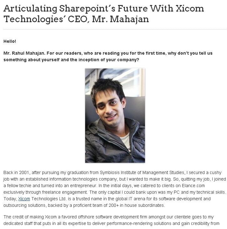 Articulating Sharepoint's Future With Xicom Technologies' CEO, Mr. Mahajan @ http://www.business2community.com/expert-interviews/articulating-sharepoints-future-with-xicom-technologies-ceo-mr-mahajan-0366220