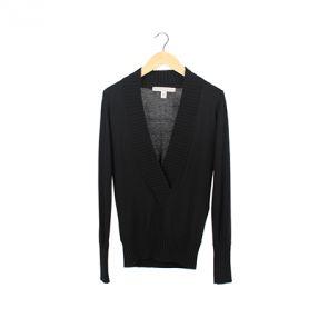 Black Silk Low Cut Shawl Collar Outerwear