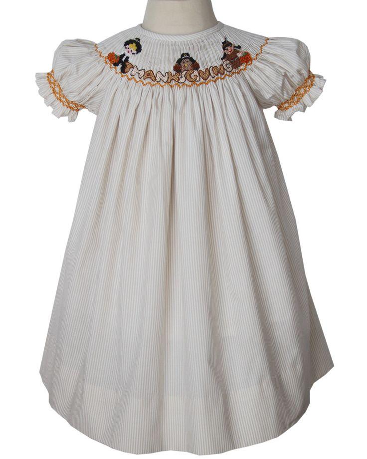 Thanksgiving Girls Bishop Dress with Smocked Pilgrims