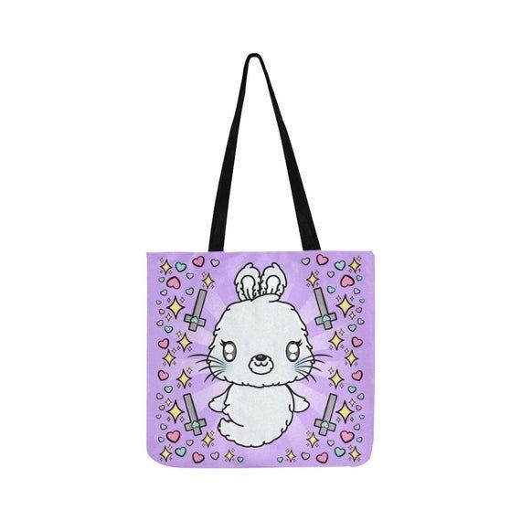 Creepy Cute Kawaii Ghost Bunny Reusable Eco Tote Bag
