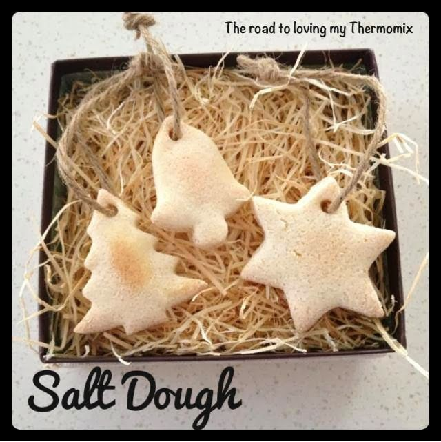 I made a bunch of these salt dough shapes for my boys to decorate for the Christmas tree.  Decorate with paint, glitter, sequins etc.  This is i