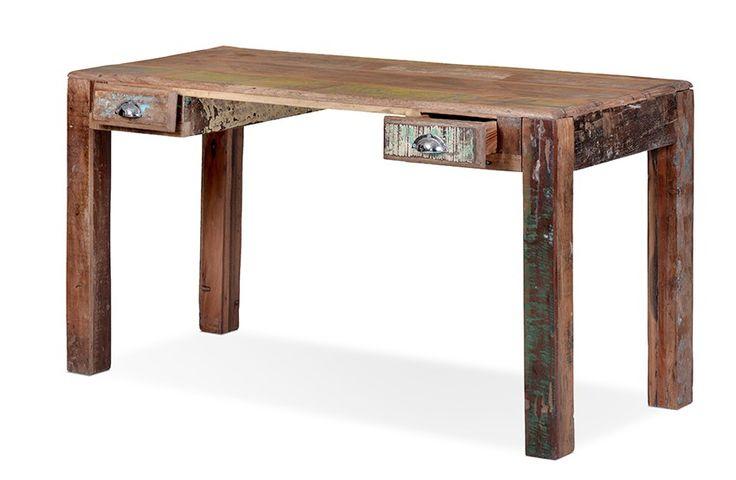 Schreibtisch retro echt altholz bunt lackiert for Schreibtisch lackieren