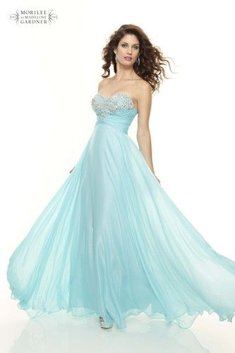 Beautiful flowing pale blue ball gown from Mori Lee
