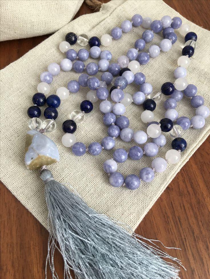 Aquamarine, White Jade, Lapis Lazuli, White Quartz and Blue Chalcedony Mala