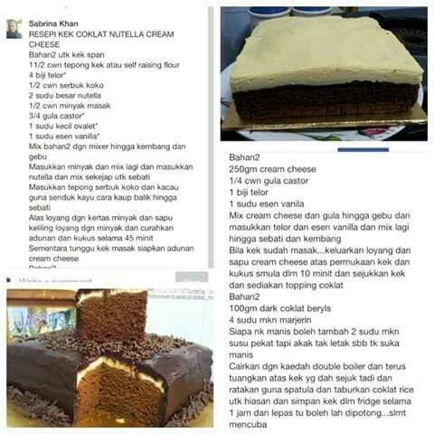 Kek coklat nuttella cream cheese