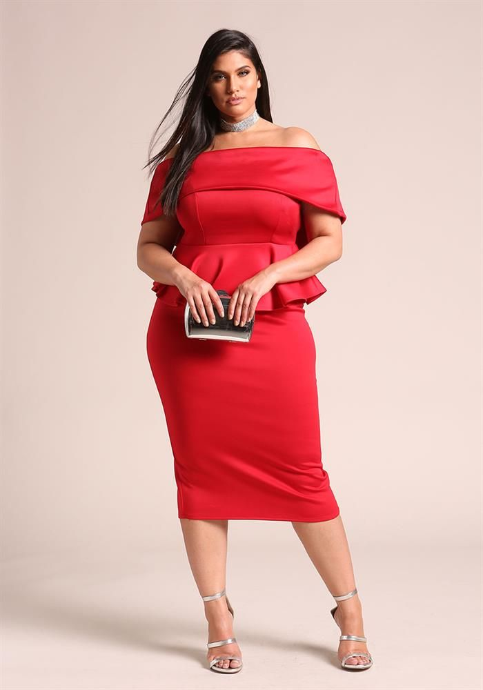 Plus Size Clothing | Plus Size High Rise Midi Skirt | Debshops ...