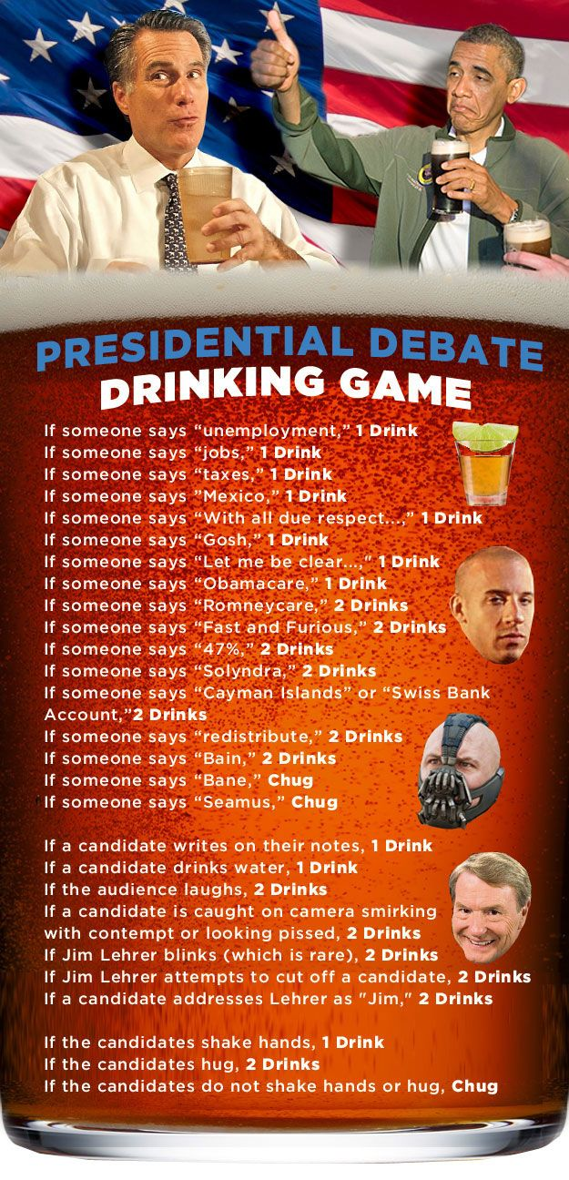 The Presidential Debate Drinking Game @Maret Perry I wish I was in Hawaii! We would make this soooo fun