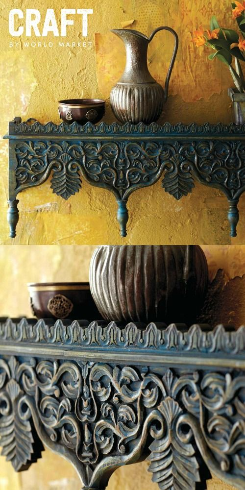 Celebrate the spirit of The Second Best Exotic Marigold Hotel and discover unique, handcrafted CRAFT by World Market items inspired by the film. Escape to exotic India, like the characters in the film with this Hand Carved Blue Shelf that perfectly captures the look of the carved pillars that adorn Indian architecture. Made in India; available through March 27th, 2015. #craftbyworldmarket