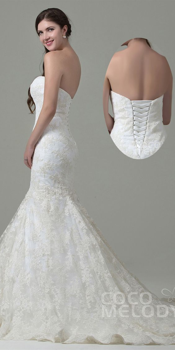 $390. Mermaid corset back #weddingdress. #cocomelody: